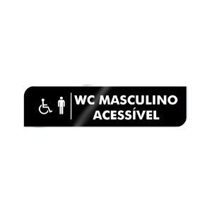 Placa Identificação - WC Acessível Masculino - Acrilico