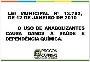 Placa uso de anabolizantes - Lei Municipal 13.782/2010