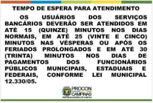 Placa - Tempo de espera para atendimento - Lei Municipal 12330/2005