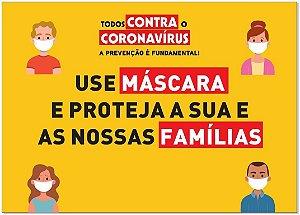 Placa - Todos Contra o Coronavírus - Use Máscara