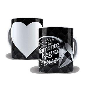 Caneca de Porcelana 325ml Personalizada Você Brilha Mais Que Diamante Negro