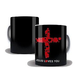 Caneca de Porcelana 325ml Personalizada Jesus Love You