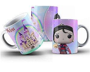 Caneca de Porcelana 325ml Personalizada Pop Princesa Mulan Funko