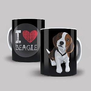 Caneca de Porcelana 325ml Personalizada I Love Beagle
