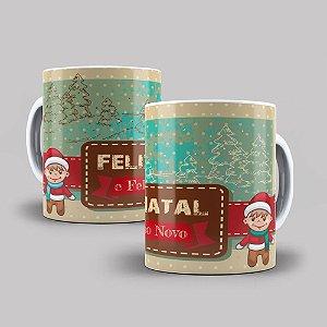 Caneca de Porcelana 325ml Personalizada Feliz Natal