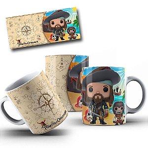 Caneca de Porcelana 325ml Personalizada Piratas Do Caribe Funko