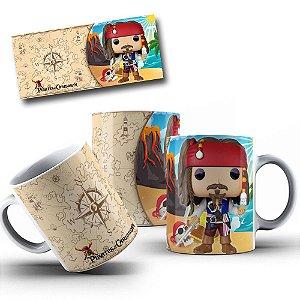 Caneca de Porcelana 325ml Personalizada Piratas Do Caribe Jack Sparrow Funko