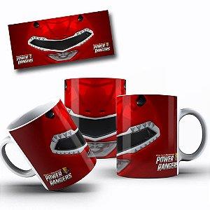 Caneca de Porcelana 325ml Personalizada Power Rangers Vermelho