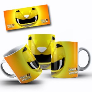 Caneca de Porcelana 325ml Personalizada Power Rangers  Amarelo