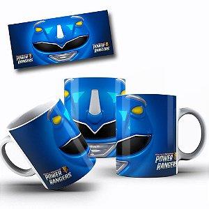 Caneca de Porcelana 325ml Personalizada Power Rangers Azul
