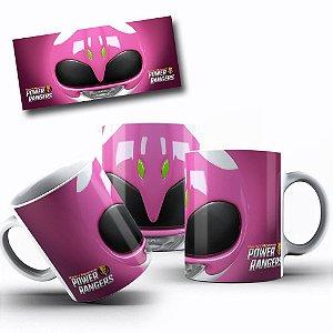 Caneca de Porcelana 325ml Personalizada Power Rangers Rosa