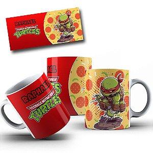 Caneca de Porcelana 325ml Personalizada Tartarugas Ninja Raphael