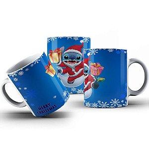 Caneca de Porcelana 325ml Personalizada Natal do Stitch
