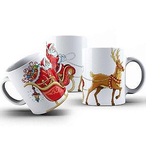 Caneca de Porcelana 325ml Personalizada Papai Noel no Trenó