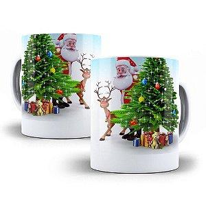 Caneca de Porcelana 325ml Personalizada Papai Noel & Rena