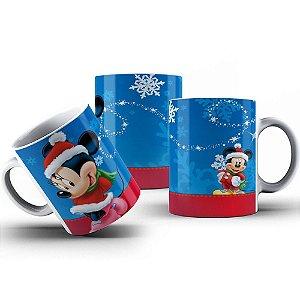 Caneca de Porcelana 325ml Personalizada Natal do Mickey & Minnie