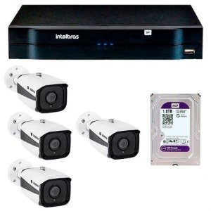 Kit 04 Câmeras IP Full HD Intelbras VIP 1220 B G3 + NVD 1204 + HD 1TB