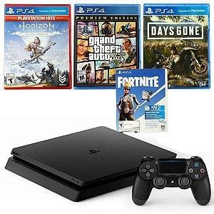 Console Sony PlayStation 4 Slim 1TB CUH-2214B C/ Hits Grand Theft Auto, Days  Gone, Horizon - Preto