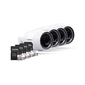 KIT 4 Câmeras IP Wireless IC5 + 4 Cartões SD 32GB