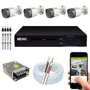 Kit Cftv Dvr Hibrido + 4 Câmeras Ahd BULLET UP58158 3.6MM  Nehc