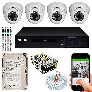 Kit Cftv Dvr Hibrido + 4 Câmeras Ahd D Up58159 ( Com Hd Incluso ) – Nehc