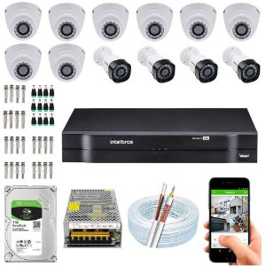 Kit Cftv Dvr  + 12 Câmeras Vhd 1010 G5 ( Com HD ) Intelbras