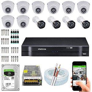 Kit Cftv Dvr Mhdx + 12 Câmeras Vhd 1010 G5 Interna e Externa ( Com HD Incluso ) - Intelbras