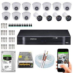 Kit Cftv Dvr Mhdx + 14 Câmeras Vhd 1010 G5 Interna e Externa ( Com HD Incluso ) - Intelbras