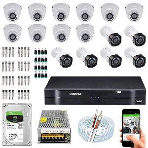 Kit Cftv Dvr Mhdx + 16 Câmeras Vhd 1220 G4  Interna e Externa ( Com HD Incluso ) Intelbras
