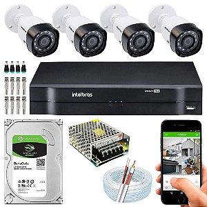 Kit Cftv Dvr Mhdx + 4 Câmeras Vhd 1220 B G4 ( Com HD incluso ) - Intelbras