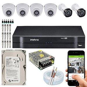 Kit Cftv Dvr Mhdx + 6 Câmeras Vhd 1120 G5 Interna e Externa ( Com HD Incluso ) - Intelbras