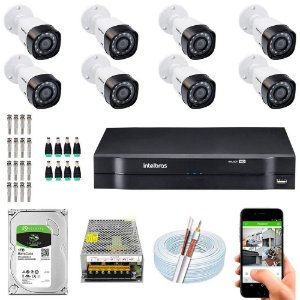 Kit Cftv Dvr Mhdx + 8 Câmeras Vhd 1220 B G5 ( Com HD incluso ) - Intelbras