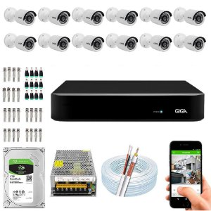 Kit Cftv Dvr Open HD + 12 Câmeras Bullet 1080p ( Com HD Incluso ) - Giga
