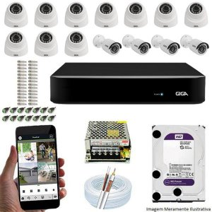 Kit Cftv Dvr Open HD + 14 Câmeras Ahd 720p Interna e Externa ( Com HD Incluso ) - Giga