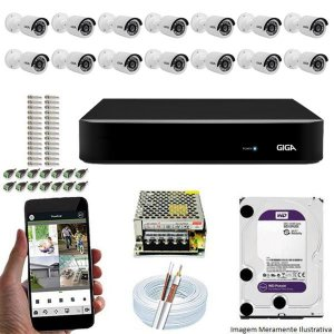 Kit Cftv Dvr Open HD + 14 Câmeras Bullet Ahd 720p ( Com HD Incluso ) - Giga