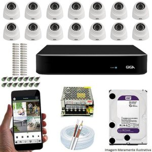 Kit Cftv Dvr Open HD + 14 Câmeras Dome Ahd 720p ( Com HD Incluso ) - Giga