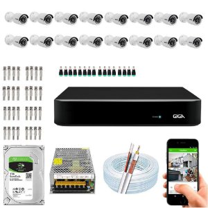 Kit Cftv Dvr Open HD + 16 Câmeras Bullet Ahd 720p ( Com HD Incluso ) - Giga