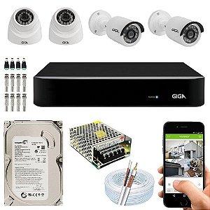 Kit Cftv Dvr Open HD + 4 Câmeras 1080p Interna e Externa ( Com HD Incluso ) - Giga