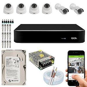 Kit Cftv Dvr Open HD + 6 Câmeras Ahd 720p Interna e Externa ( Com HD Incluso ) - Giga