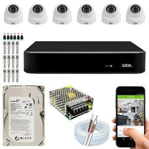 Kit Cftv Dvr Open HD + 6 Câmeras Dome 1080p ( Com HD Incluso ) - Giga