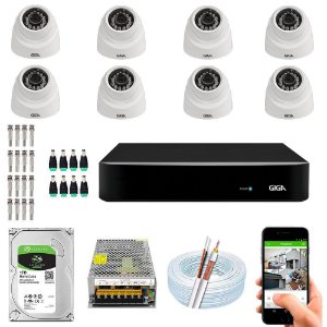 Kit Cftv Dvr Open HD + 8 Câmeras Dome 1080p ( Com HD Incluso ) - Giga