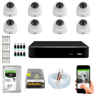 Kit Cftv Dvr Open HD + 8 Câmeras Dome Ahd 720p ( Com HD Incluso ) -  Giga