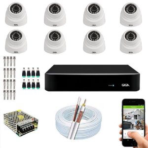 Kit Cftv Dvr Open HD + 8 Câmeras Dome Ahd 720p -  Giga