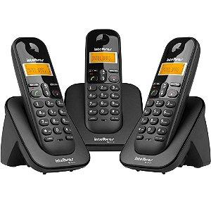 Telefone sem Fio Digital com 2 ramais adicionais Ts 3113 Preto - Intelbras