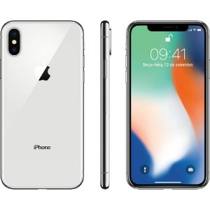 "iPhone X Apple 64GB Prata 4G Tela 5,8"" Retina Câmera Dupla 12MP + Selfie 7MP iOS 12"