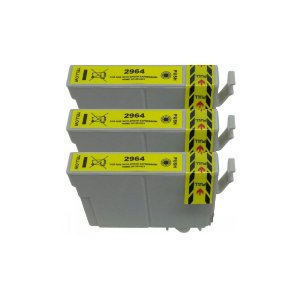 Kit 3 Cartuchos de Tinta Compativel Epson 296 (T2964) Amarelo 13,5ml