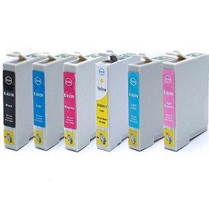 Kit 06 Cartucho de Tinta Epson To821 To822 To823 To824 To825 To826 Compatível Preto + Colorido