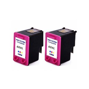 Kit 2 Cartushos de Tinta Compativel HP 60xl (CC644) Colorido 18,5ml