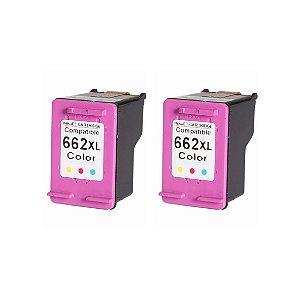 Kit 2 Cartuchos de Tinta Compativel HP 662xl (CZ106) Colorido 13-15ml