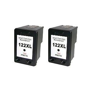 Kit 2 Cartuchos de Tinta Compativel HP 122xl (CH563) preto 18ml